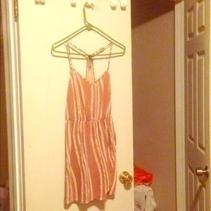 Dress with pink and white stripes